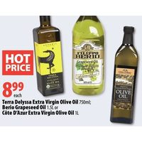 Terra Delyssa Extra Virgin Olive Oil, Berio Grapeseed Oils Or Cote D'Azur Extra Virgin Olive Oil