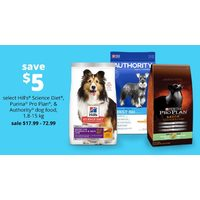 Hill's Science Diet Purina Pro Plan, & Authority Dog Food