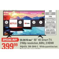 "Sharp 50"" 4K Smart TV"