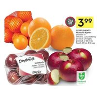 Compliments Mcintosh Apples Or Navel Oranges