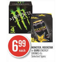 Monster, Rockstar Or Guru Energy Drinks