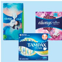 Tampax Pearl Tampons, Always Radiant Liners or Infinity Pads