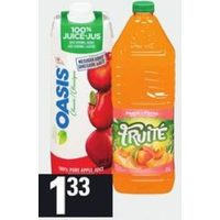 Fruite Drink or Tetley Iced Tea or Oasis 100% Juice Blends, Del Monte Nectar, Hydrafruit, Arizona Tea or FruitZoo Juice