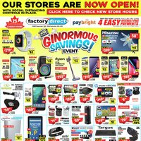 Factory Direct - Ginormous Savings! Event Flyer