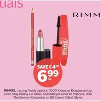 Rimmel Lasting Finish Lipstick, 1000 Kisses or Exaggerate Lip Liner, Stay Glossy Lip Gloss, Scandaleyes Liner or Mascara, Hide the Blemish Concealer or BB Cream