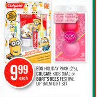 Eos Holiday Pack, Colgate Kids Oral Or Burt's Bees Festive Lip Balm Gift Set