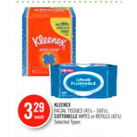 Kleenex Facial Tissues, Cottonelle Wipes Or Refills