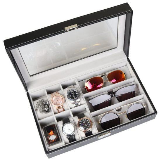 3. Best Stylish Gift: Goetland PU Leatherette Watch Display Box Jewelry Case