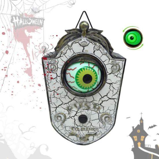 5. Best Door Décor: Halloween Door Decoration, Talking Eyeball Doorbell for Halloween Door Decor with Light-up Eyeball
