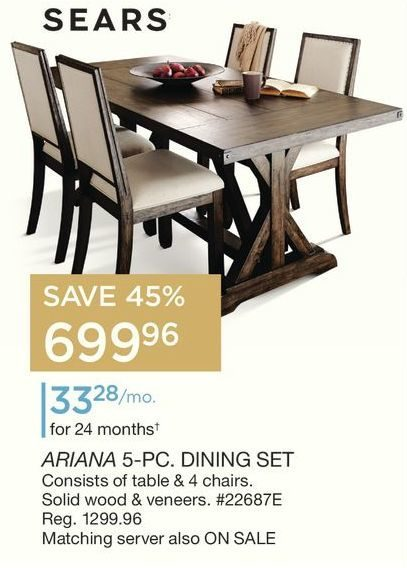 Dining Room Chairs Sears sears: ariana 5-pc. dining set - redflagdeals