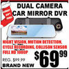 Dual Camera Car Mirror DVR - $69.99