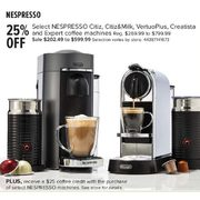 Select Nespresso Citiz, Citiz&Milk, VertuoPlus, Creatista and Expert Coffee Machines - $202.49 - $599.99 (25% off)