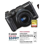 Canon EOS M6 Mirrorless Camera with 15-45mm f/3.5-6.3 IS STM Lens Kit - $599.99 ($280.00 off)