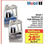 Mobil 1 Synthetic Or High Mileage Oil - $28.97/4.73 L ($21.00 off)