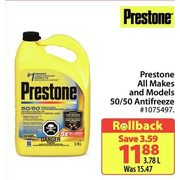Prestone All Makes And Models 50/50 Antifreeze - $11.88/3.78 L ($3.59 off)